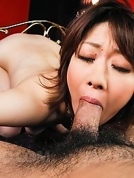 Rio Kagawa Asian is fucked in asshole with sex toy and sucks cock