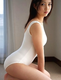 Azusa Togashi doll in white bath suit wants to go outside