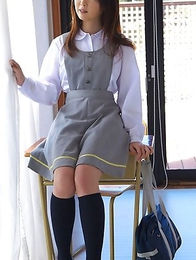 Mio Ayame smiles and shows ass in panty under uniform
