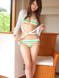 Misaki Nito in colorful bath suit keeps on spreading legs